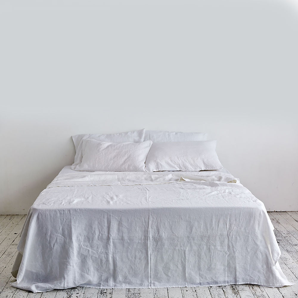 Top3 By Design In Bed In Bed Flat Sheet Linen Queen White