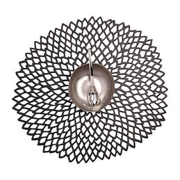 chilewich table mat round dahlia black 1000