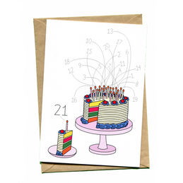 things by bean 21st birthday cake card  1000