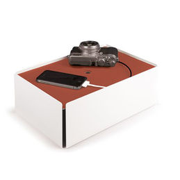 charge box white leather copper 1000