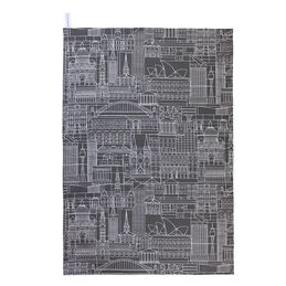sydney tea towel white on charcoal 1000