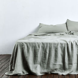 in bed flat sheet linen queen stone 1000