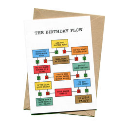 things by bean birthday flow chart greeting card 1000
