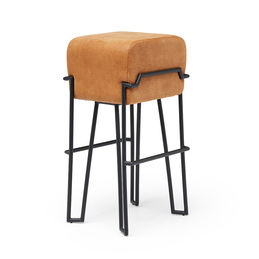 puik design cognac leather bokk bar stool etched 1000