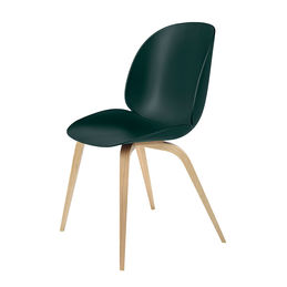 gubi beetle dining chair conic wood unupholstered oak dark green main 1000