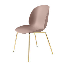 gubi beetle dining chair conic brass unupholstered sweet pink main 1000
