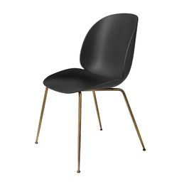 gubi beetle dining chair conic antique brass unupholstered black main 1000