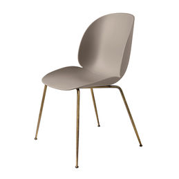 gubi beetle dining chair conic antique brass unupholstered new beige main 1000