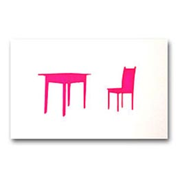 me amber table chair pink card