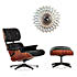 vitra sunflower clock birch with eames lounge chair black 800