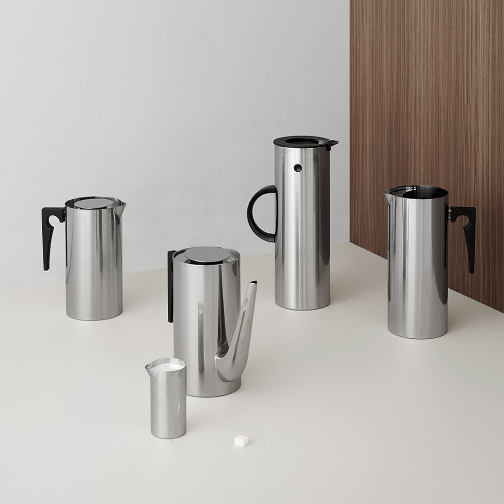 stelton cylinda tea coffee milk jug em77 vacuum steel 1000