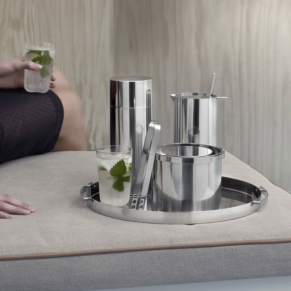 stelton cylinda cocktail shaker cocktail spoon ice bucket tongs serving tray 1000