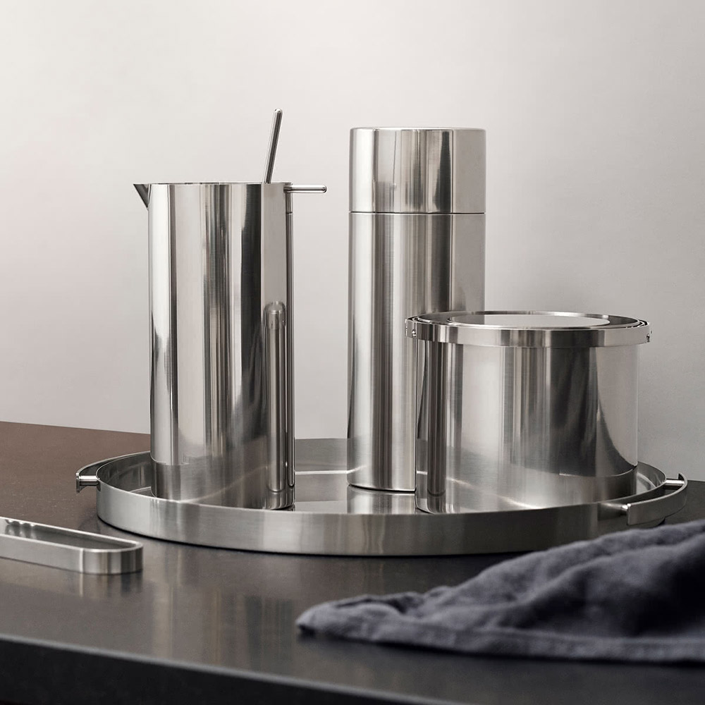 stelton cylinda cocktail shaker spoon ice bucket tongs serving tray 1000
