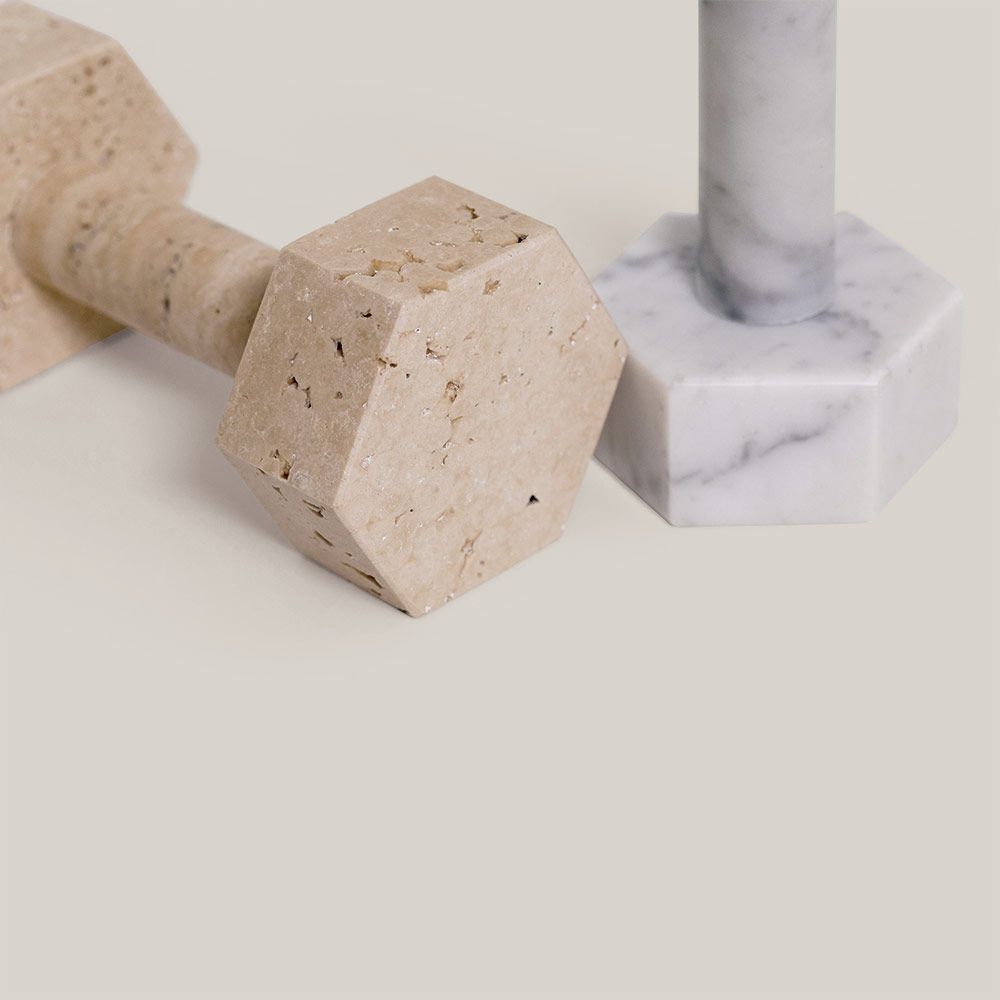 addition studio kp travertine and marble dumbbell crop 1000