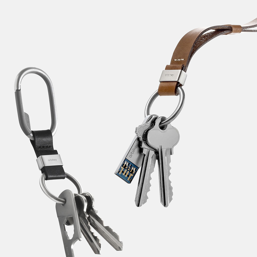 orbitkey clip black lanyard tan 1000