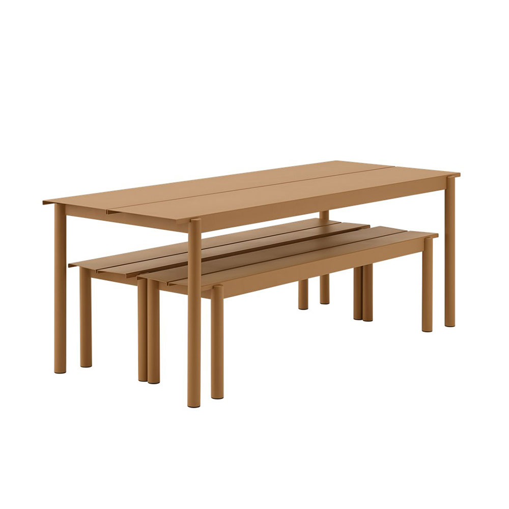 muuto linear table bench burnt orange 1000