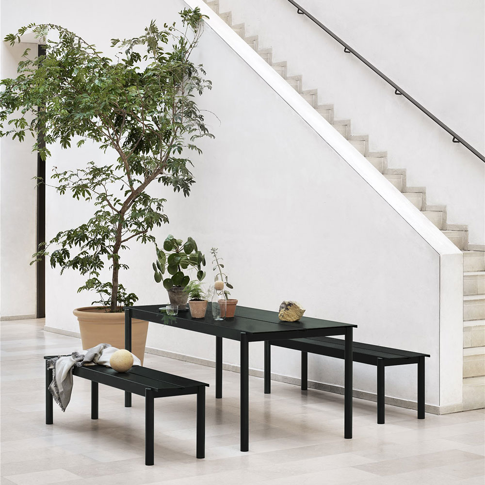 muuto linear table bench black 1000