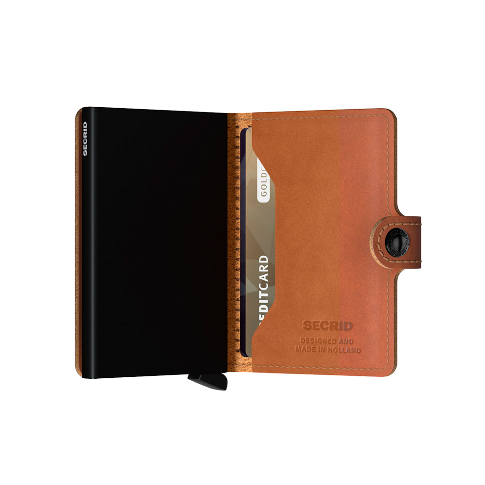 secrid miniwallet perforated cognac half open 1000