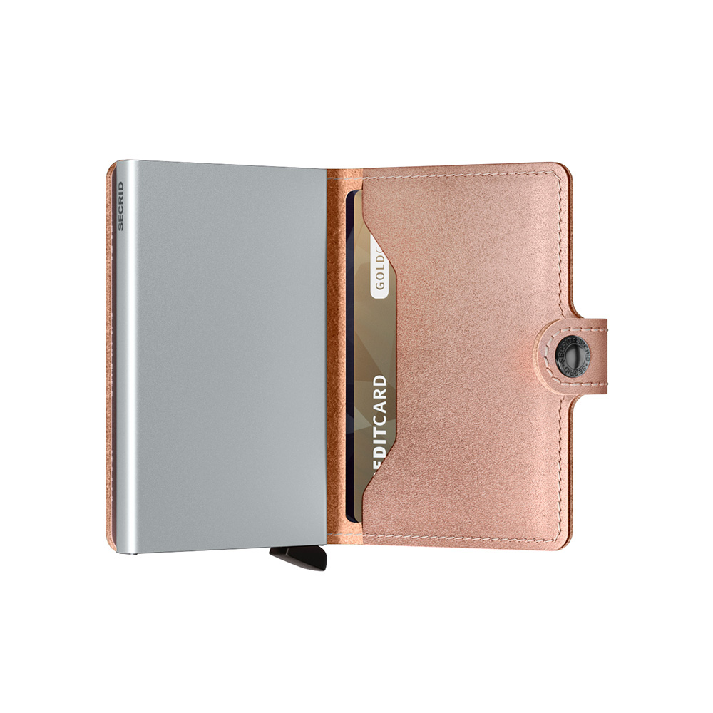 secrid miniwallet metallic rose half open 1000