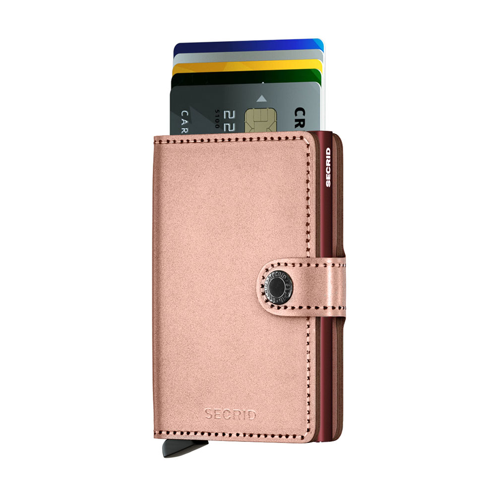 secrid miniwallet metallic rose burgundy cards 1000