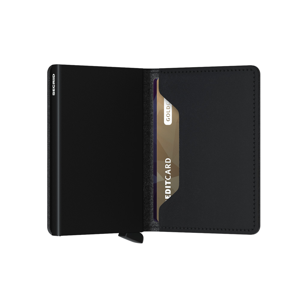 secrid slimwallet vegan black half open 1000