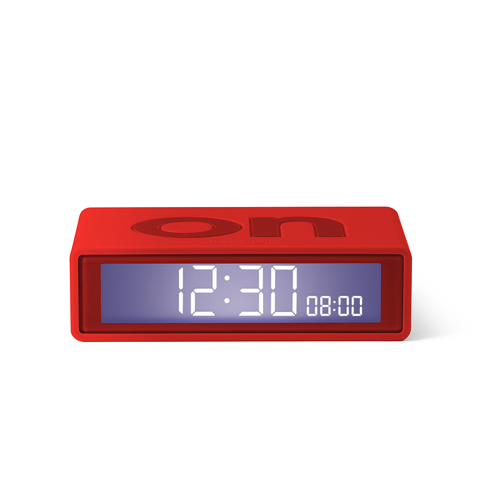 lexon flip travel alarm clock red front 01 1000