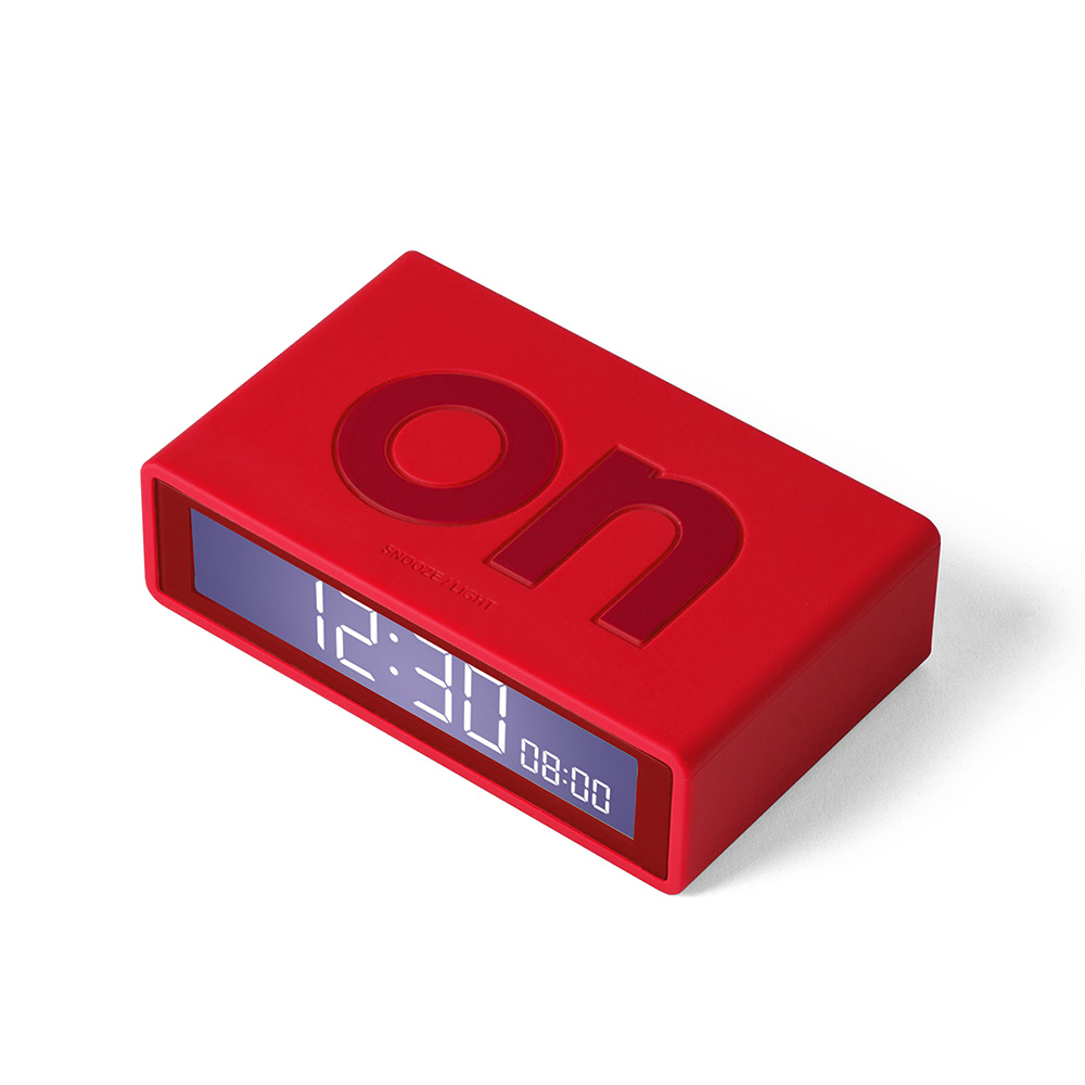 lexon flip travel alarm clock red angle screen 1000