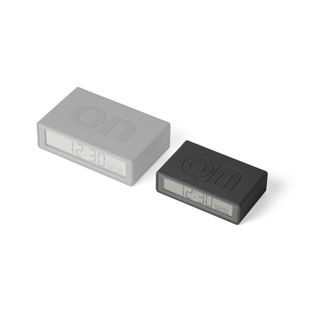 lexon flip travel alarm clock grey angle pair 1000