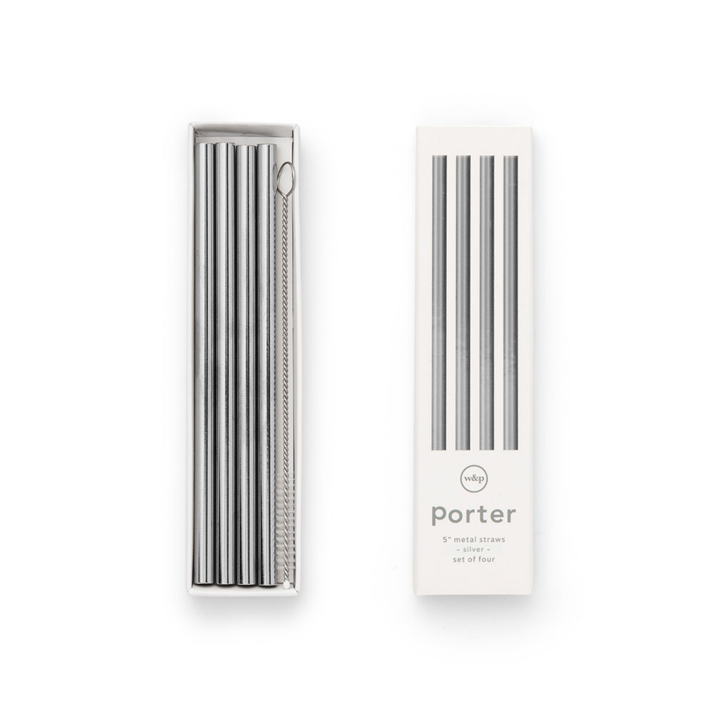 porter straws 5 inch silver packaging 1000