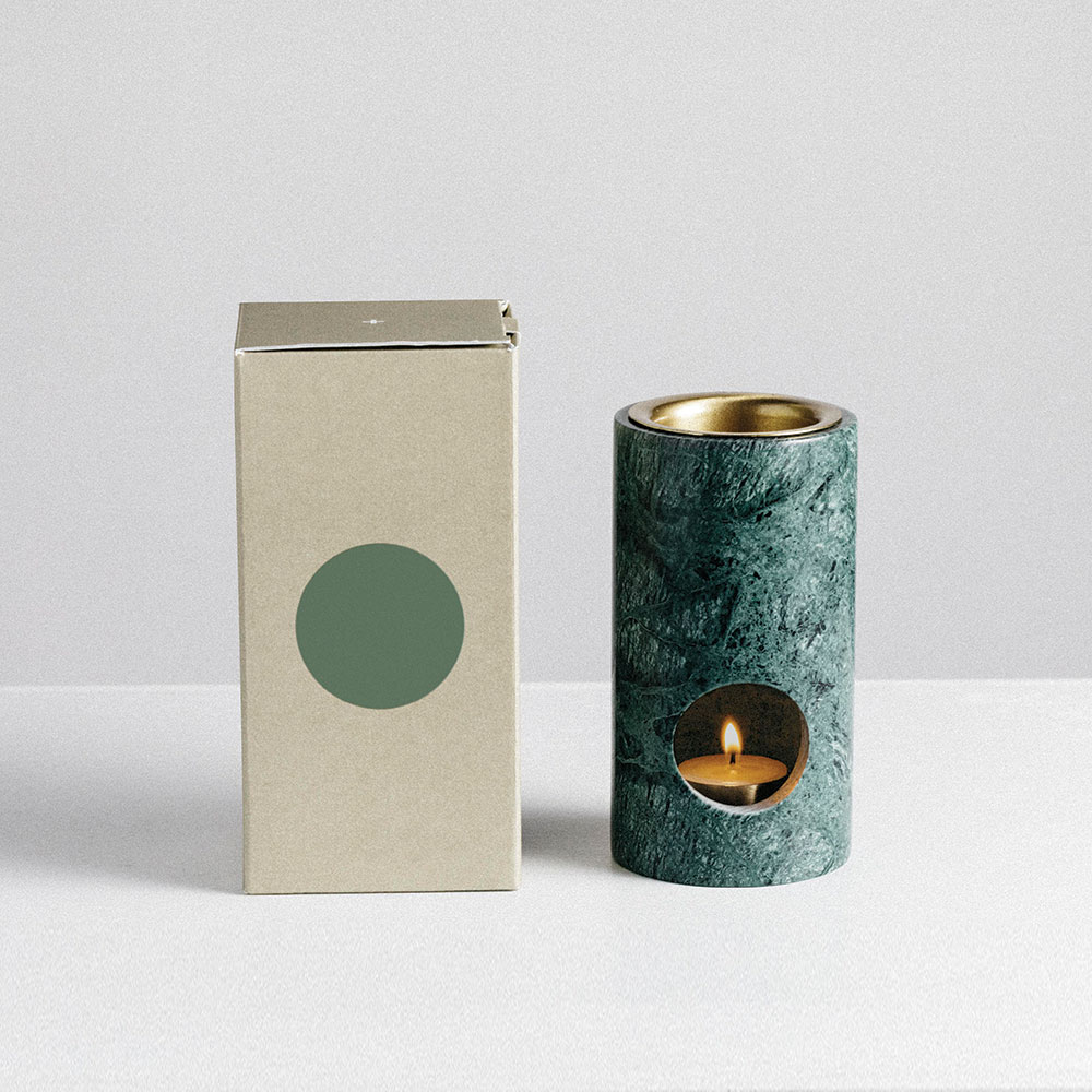 addition studio synergy oil burner green marble packaging 1000