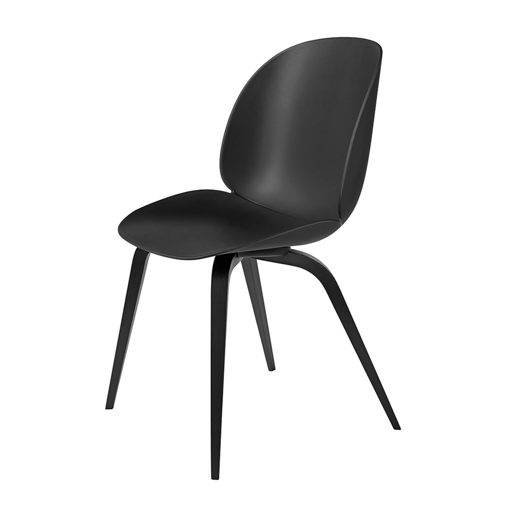 gubi beetle dining chair conic wood unupholstered black beech black main 1000