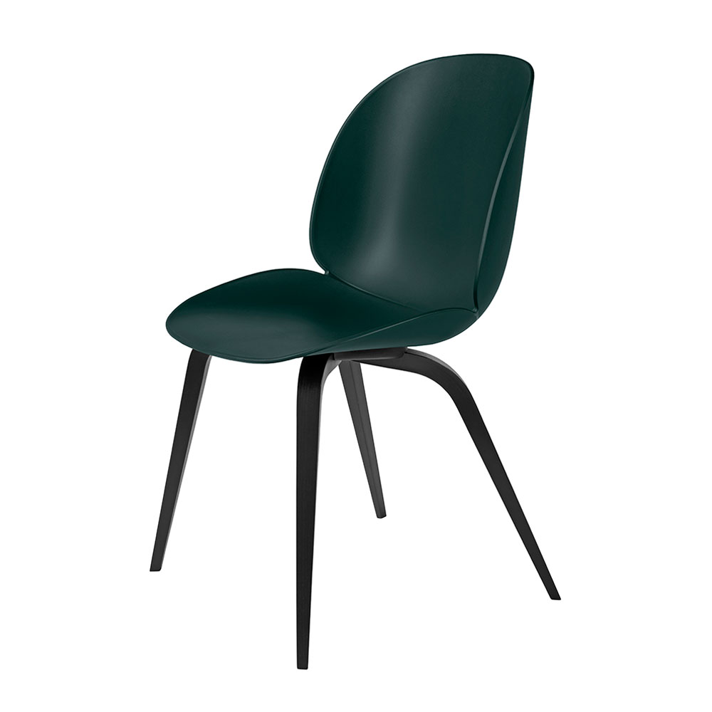 gubi beetle dining chair conic wood unupholstered black beech dark green main 1000