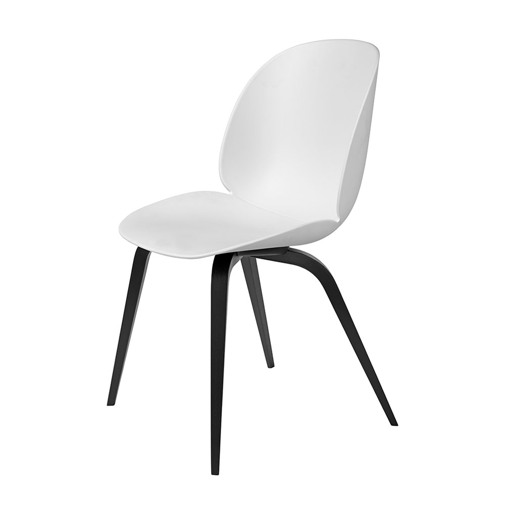 gubi beetle dining chair conic wood unupholstered black beech pure white main 1000