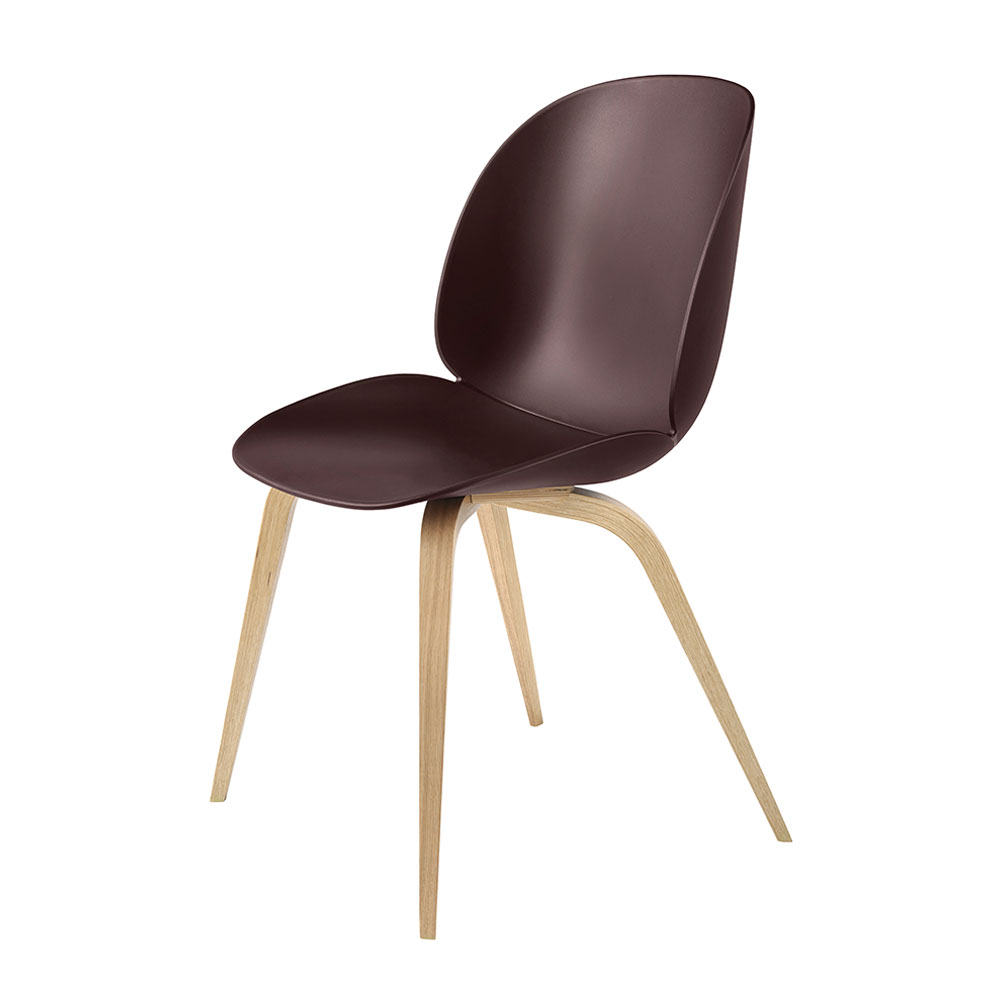 gubi beetle dining chair conic wood unupholstered oak dark pink main 1000
