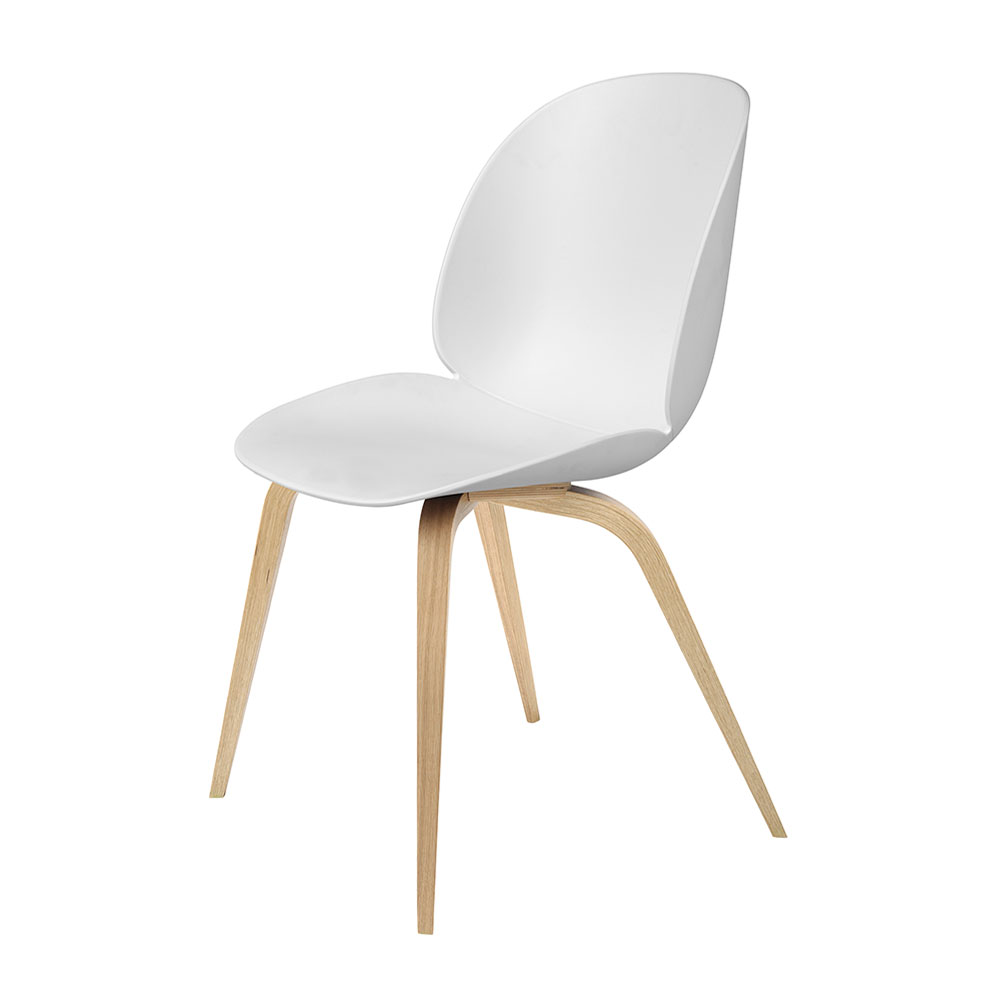 gubi beetle dining chair conic wood unupholstered oak pure white main 1000