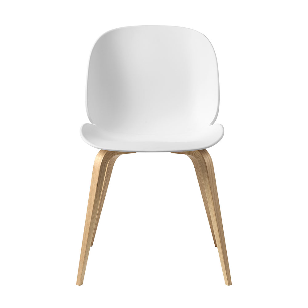 gubi beetle dining chair conic wood unupholstered oak pure white front 1000