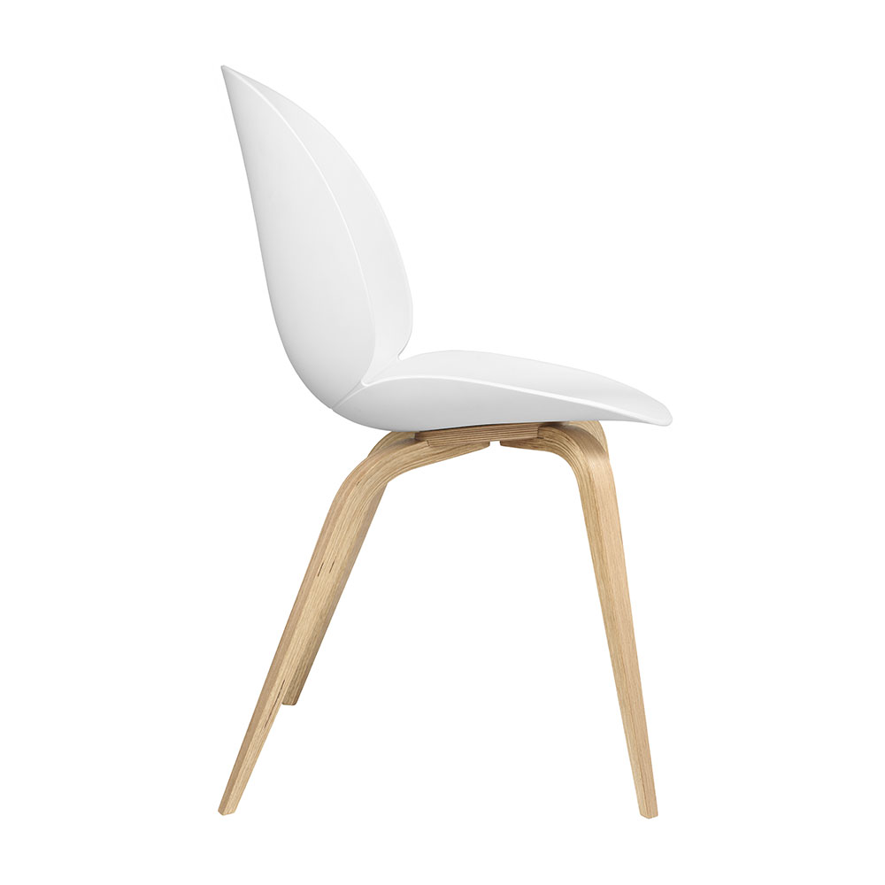 gubi beetle dining chair conic wood unupholstered oak pure white side 1000