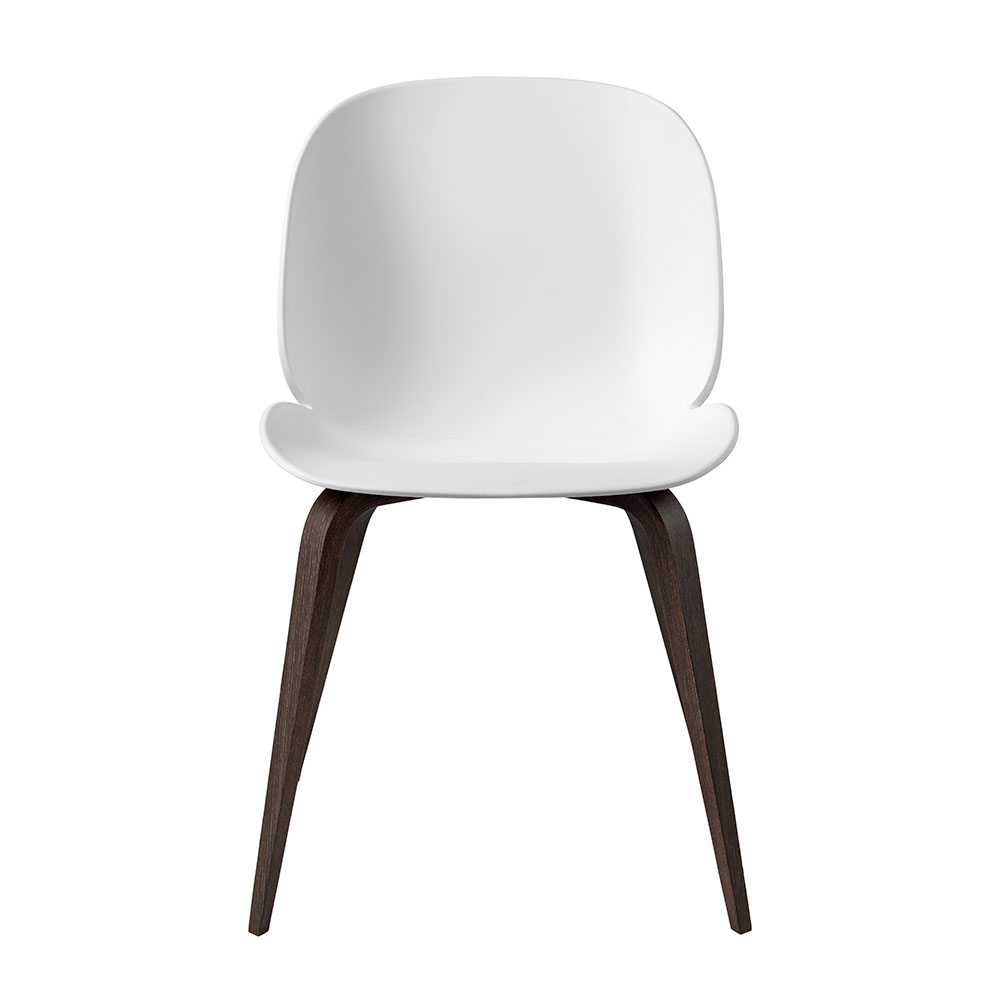gubi beetle dining chair conic wood unupholstered smoked oak pure white front 1000