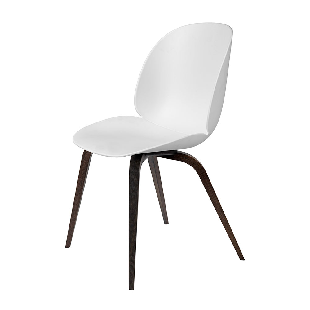 gubi beetle dining chair conic wood unupholstered smoked oak pure white main 1000