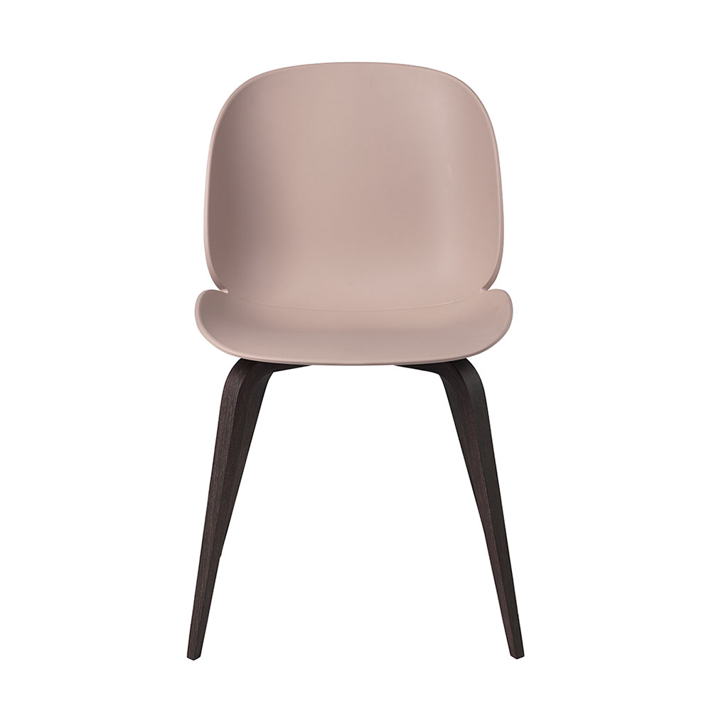 gubi beetle dining chair conic wood unupholstered smoked oak sweet pink front 1000