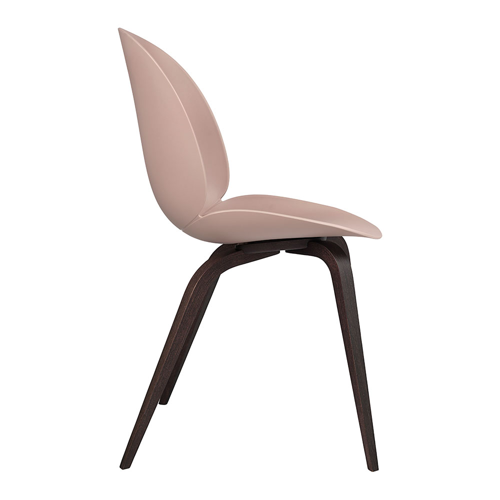 gubi beetle dining chair conic wood unupholstered smoked oak sweet pink side 1000