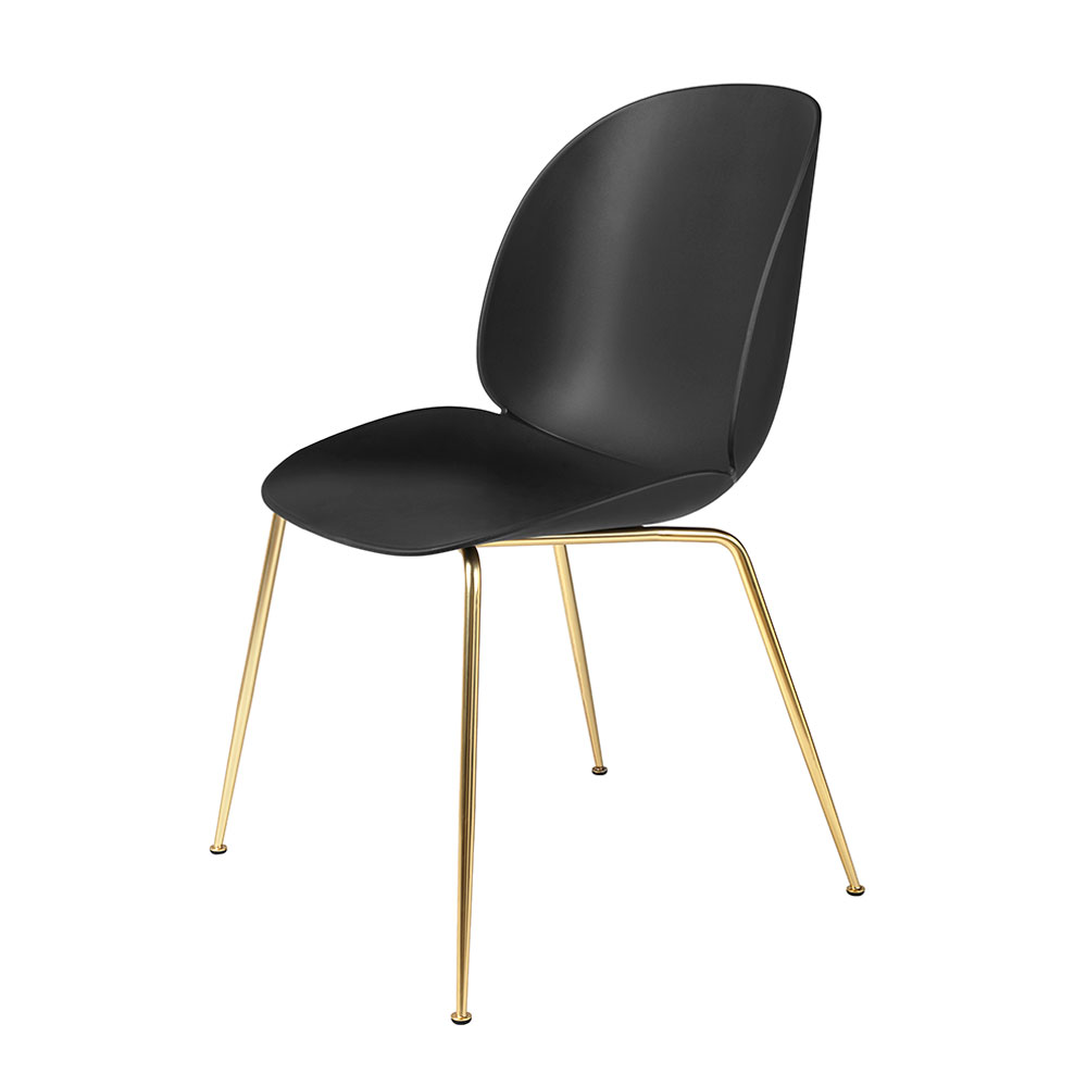 gubi beetle dining chair conic brass unupholstered black main 1000