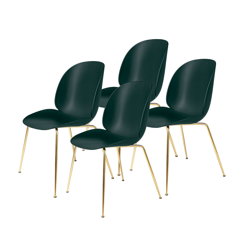 gubi beetle dining chair conic brass unupholstered dark green group 1000