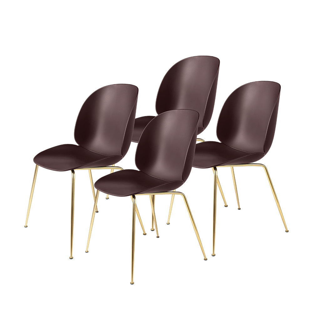 gubi beetle dining chair conic brass unupholstered dark pink group 1000