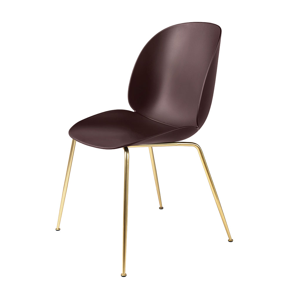 gubi beetle dining chair conic brass unupholstered dark pink main 1000