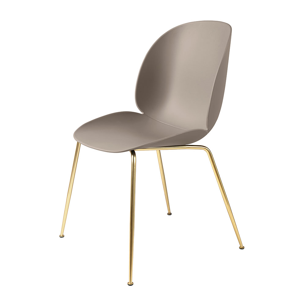 gubi beetle dining chair conic brass unupholstered new beige main 1000