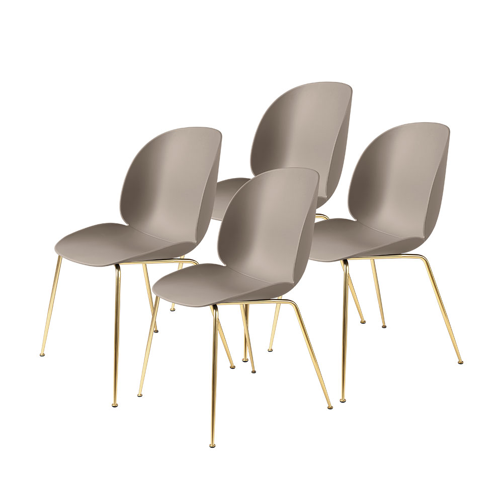 gubi beetle dining chair conic brass unupholstered new beige group 1000
