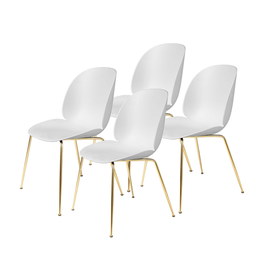 gubi beetle dining chair conic brass unupholstered pure white group 1000