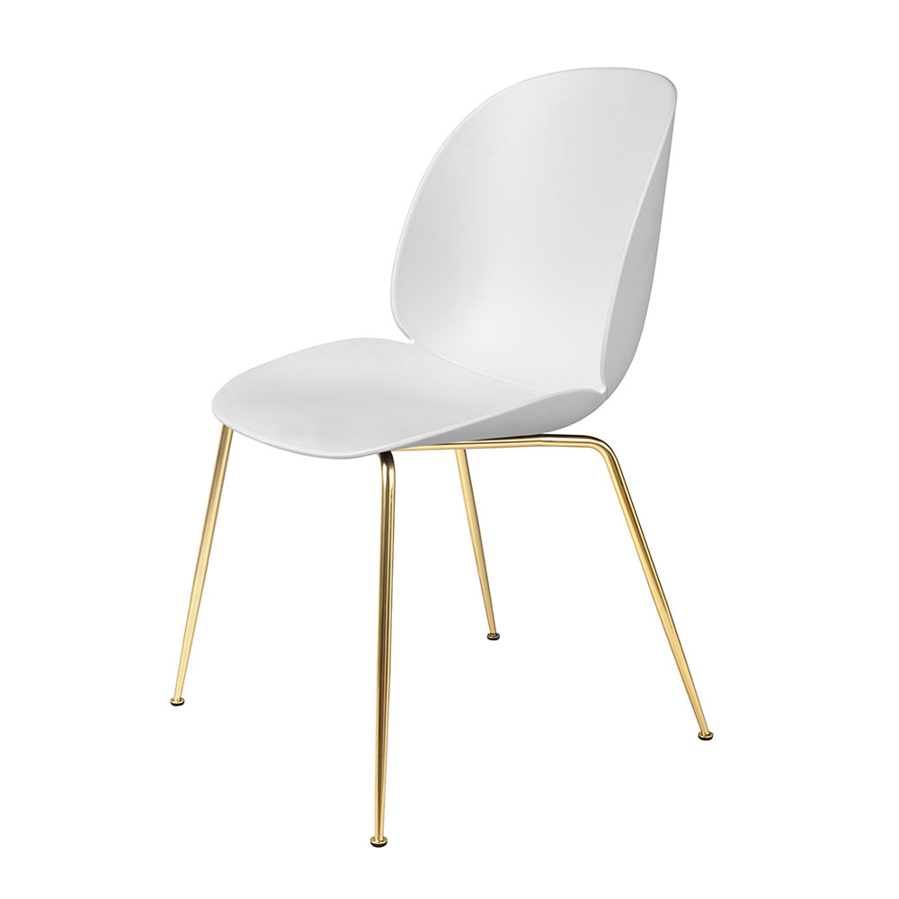 gubi beetle dining chair conic brass unupholstered pure white main 1000