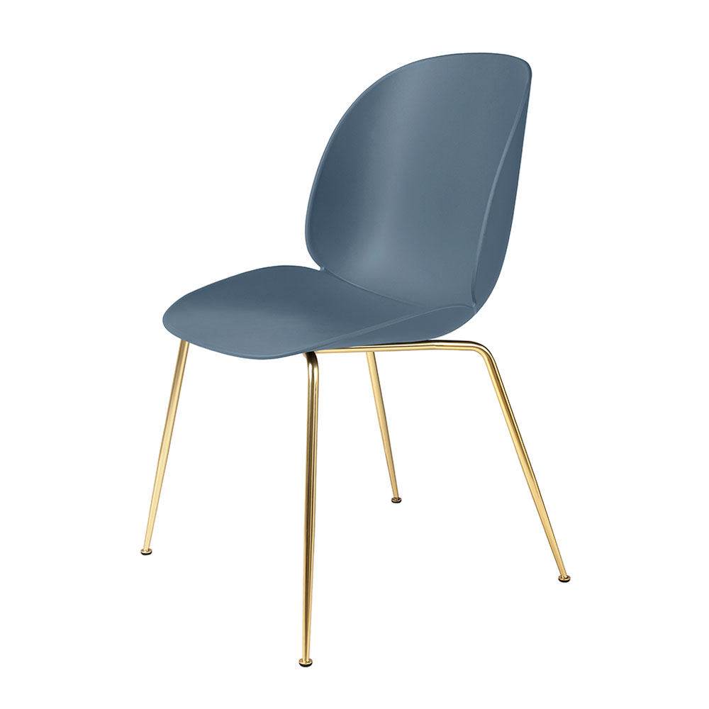 gubi beetle dining chair conic brass unupholstered smoke blue main 1000